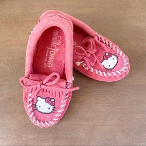 MINNETONKA X HELLO KITTY Leather Suede Moccasins